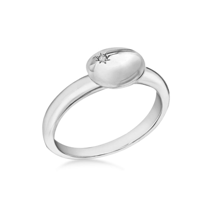 Lily & Lotty Sterling Silver Diamond Oval Coffee Bean Ring - Queen of Silver