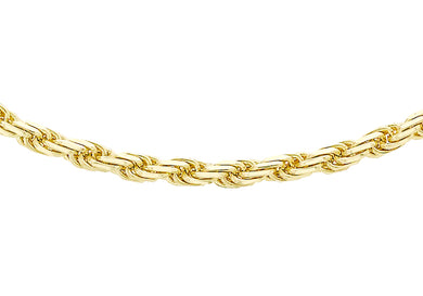 9ct Yellow Gold 50pg Diamond Cut Rope Chain
