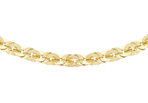 9ct Yellow Gold 350pg Textured Paillettes Link Necklace Chain