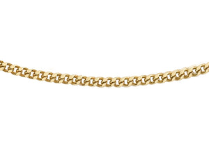 9ct Yellow Gold 30pg Diamond Cut Curb Chain 24""