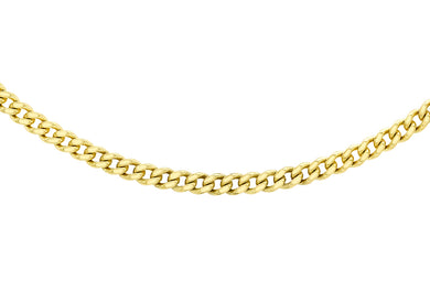 9ct Yellow Gold 50pg Diamond Cut Curb Chain 46Cm/18