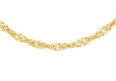 9ct Yellow Gold 50pg Diamond Cut Twist Curb Chain