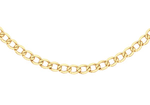 9ct Yellow Gold 100pg Diamond Cut Flat Curb Chain