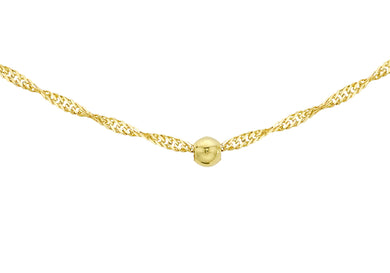 9ct Yellow Gold Diamond Cut Ball And Twist Curb Chain