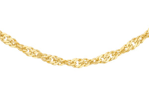 9ct Yellow Gold 16pg Diamond Cut Twist Curb Chain