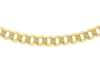 9ct Yellow Gold 80pg Diamond Cut Textured Curb Chain 46Cm/18