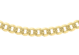 9ct Yellow Gold 80pg Diamond Cut Textured Curb Chain 46Cm/18""