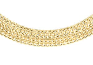 9ct Yellow Gold Diamond Cut Domed Curb Chain 18""