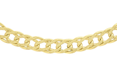 9ct Yellow Gold 60pg Hollow Diamond Cut Double Curb Chain 46Cm/18