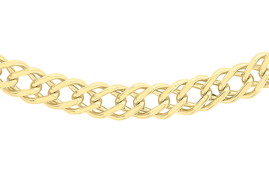 9ct Yellow Gold Diamond Cut Double Curb Chain