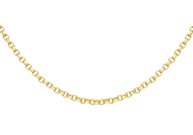 9ct Yellow Gold 130pg Diamond Cut Belcher Chain 41Cm/16