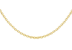 9ct Yellow Gold 130pg Diamond Cut Belcher Chain 41Cm/16""