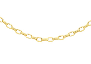 9ct Yellow Gold 100pg Diamond Cut Oval Belcher Chain