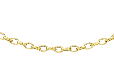 9ct Yellow Gold 80pg Diamond Cut Oval Belcher Chain 41Cm/16