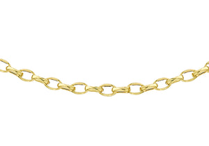 9ct Yellow Gold 80pg Diamond Cut Oval Belcher Chain 41Cm/16""