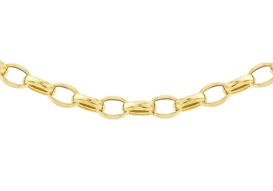 9ct Yellow Gold 130pg Oval Belcher Chain