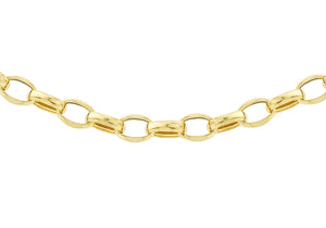 9ct Gold 130pg Hollow Oval Bevel Belcher Chain 22""