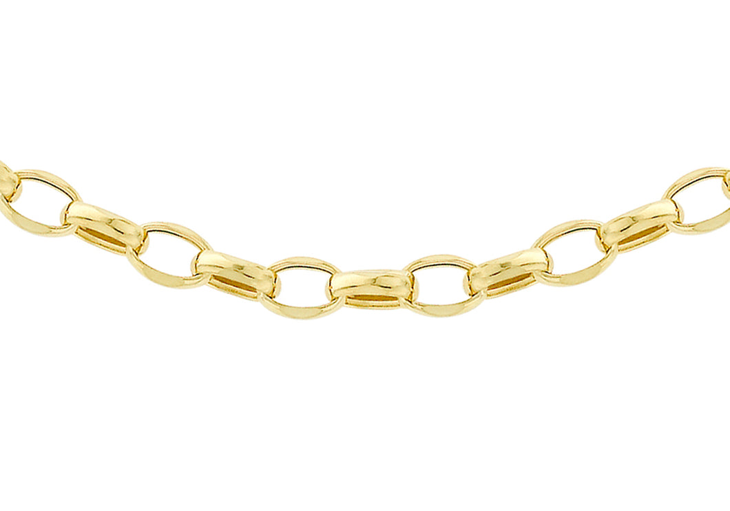 9ct Gold 130pg Hollow Oval Bevel Belcher Chain 22