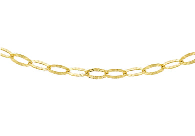 9ct Yellow Gold Diamond Cut Link Chain 46Cm/18