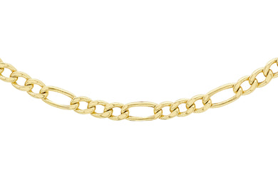 9ct Gold 80pg Hollow Figaro Chain 3+1 22