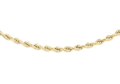 9ct Yellow Gold 30pg Diamond Cut Rope Chain