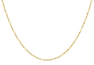 9ct Yellow Gold 40pg Diamond Cut Figaro Chain 41Cm/16""