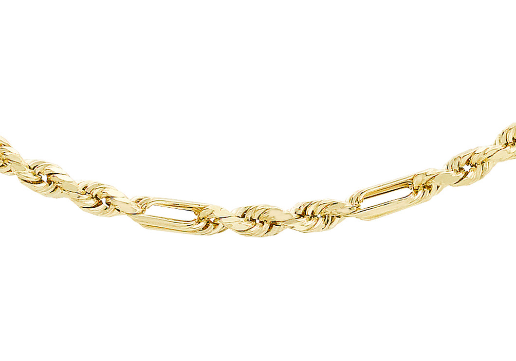 9ct Yellow Gold 40pg Diamond Cut Figaro Chain 41Cm/16