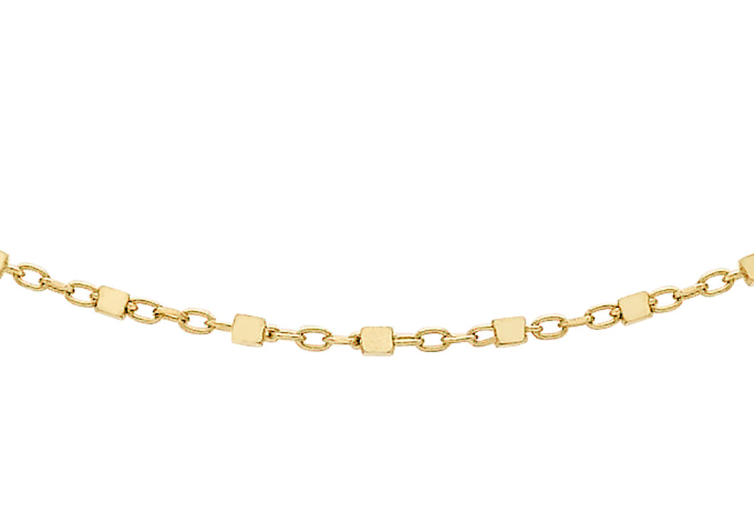 9ct Yellow Gold Cube Link Trace Chain