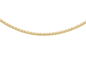 9ct Yellow Gold 30pg Spiga Chain 41Cm/16""