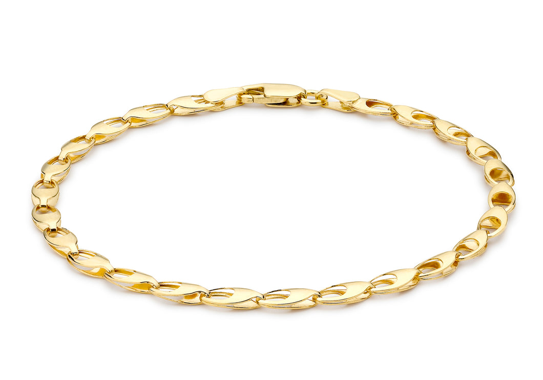 9ct Yellow Gold Oval Link Bracelet 18cm/7