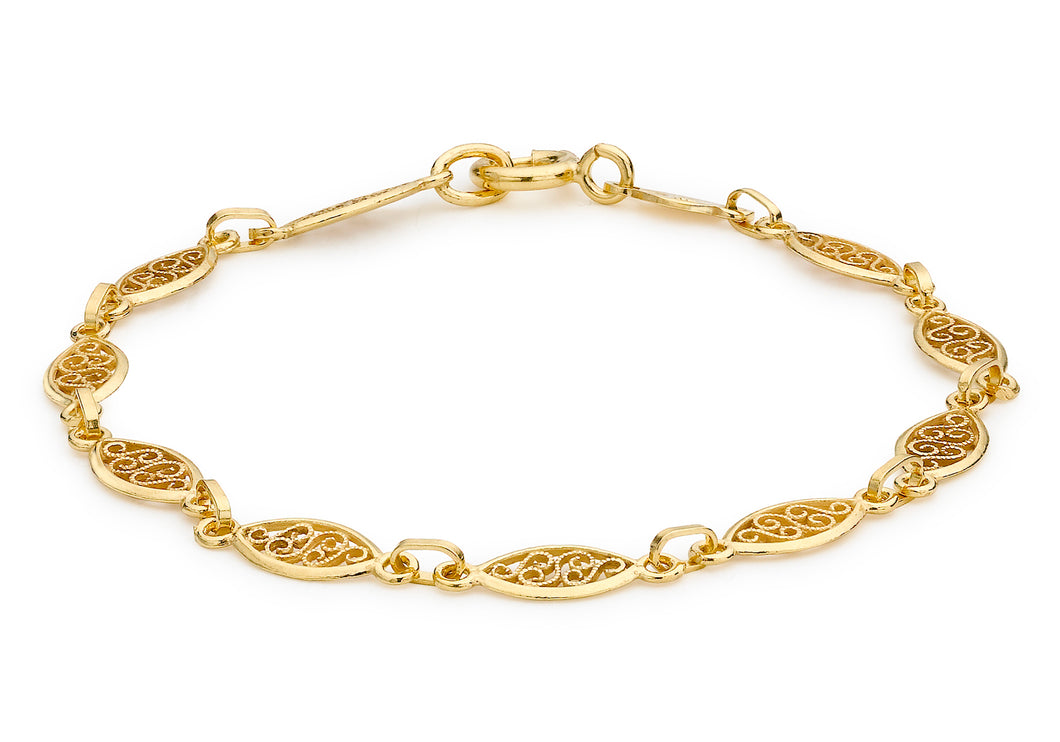 9ct Yellow Gold Filigree Oval Bracelet 18cm/7