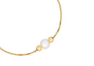 9ct Yellow Gold Snake Chain with Pearl and Ball Bracelet 19cm/7.5""