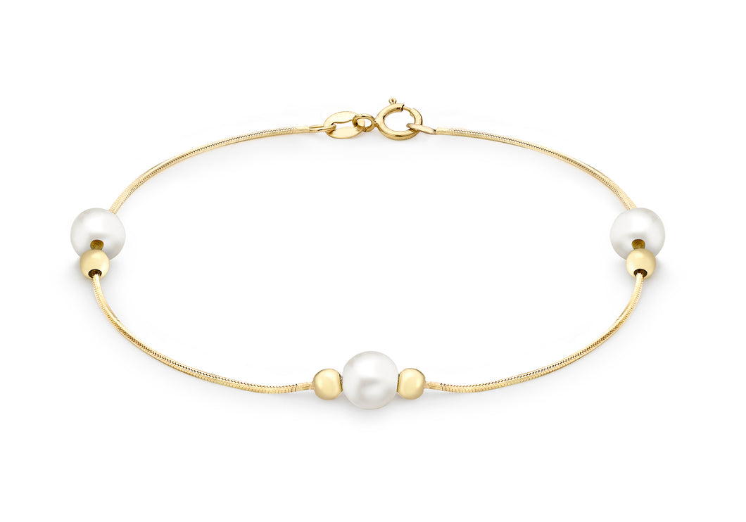 9ct Yellow Gold Snake Chain with Pearl and Ball Bracelet 19cm/7.5