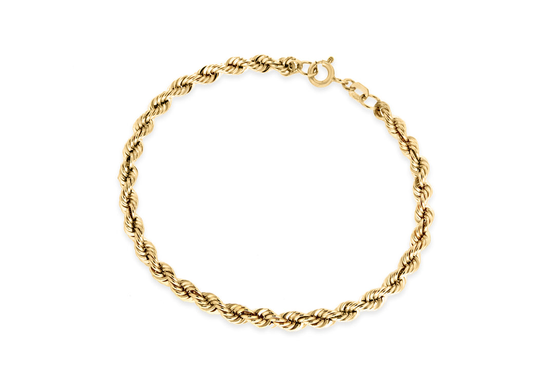 9ct Yellow Gold 80pg Rope Chain Bracelet 18cm/7