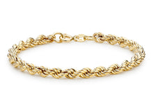 9ct Yellow Gold Hollow Rope Bracelet 19cm/7.5""