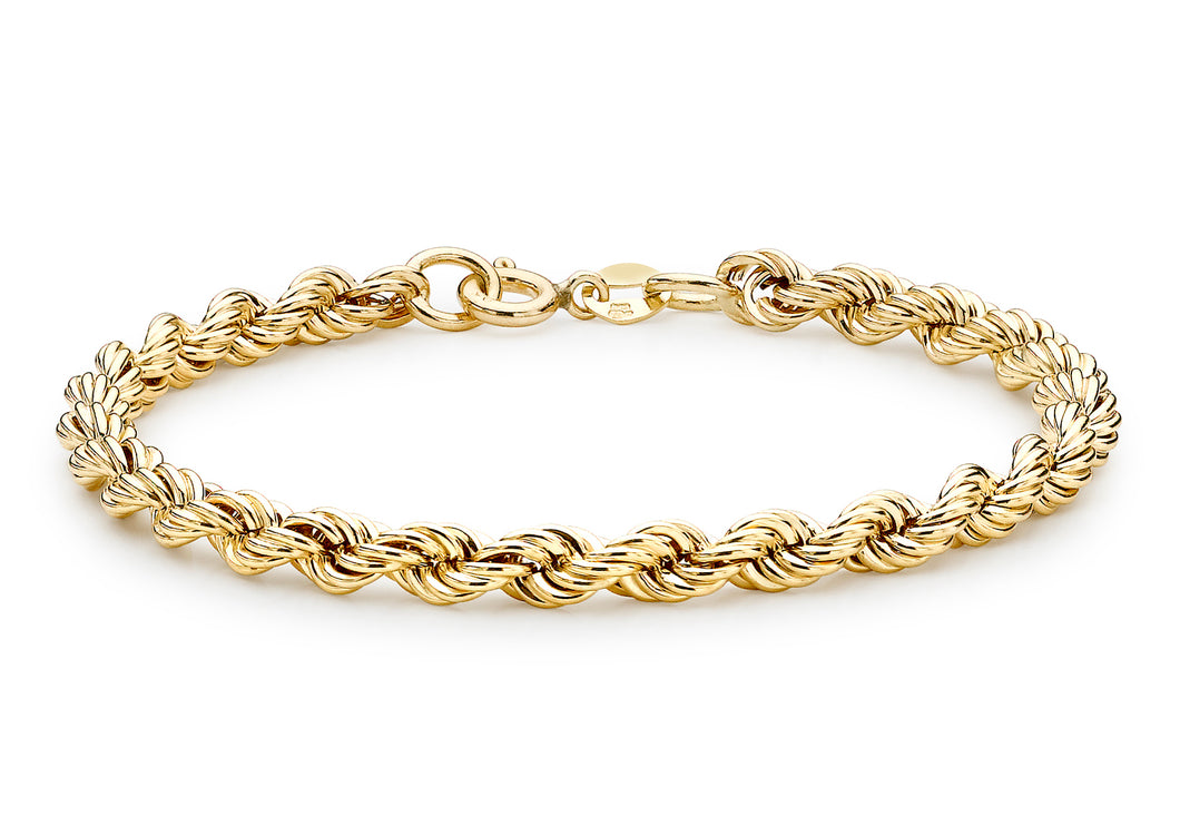 9ct Yellow Gold Hollow Rope Bracelet 19cm/7.5