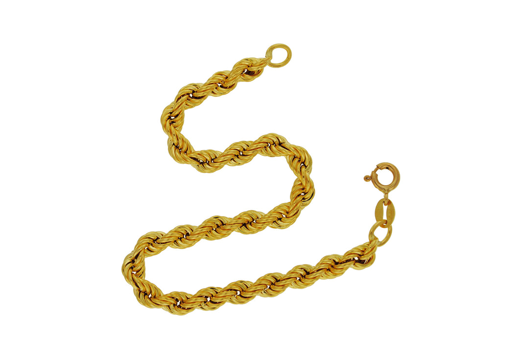 9ct Yellow Gold 100pg Rope Chain Bracelet 18cm/7
