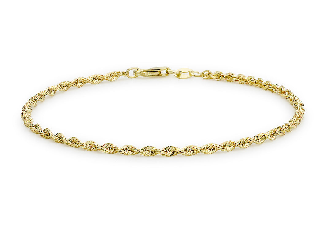 9ct Yellow Gold Hollow Rope Bracelet 18cm/7