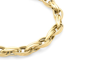 9ct Yellow Gold Textured Link Bracelet