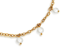 9ct Yellow Gold Pearl Drop Chain Bracelet 19cm/7.5""