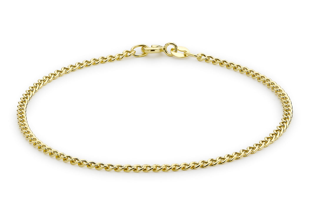 9ct Yellow Gold Hollow Curb Bracelet 7