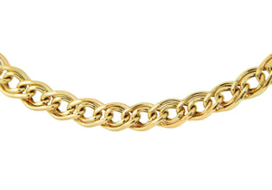 9ct Yellow Gold Double Hollow Link Bracelet 18cm/7""