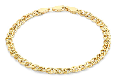 9ct Yellow Gold Double Hollow Link Bracelet 18cm/7