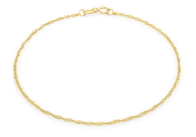 9ct Yellow Gold 20 Twist Curb Chain Bracelet 18cm/7