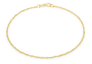 9ct Yellow Gold 20 Twist Curb Chain Bracelet 18cm/7""