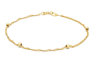 9ct Yellow Gold Twist and Ball Curb Bracelet 18cm/7""