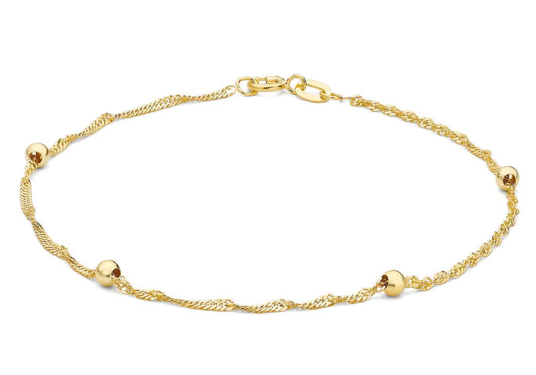 9ct Yellow Gold Twist Curb and Ball Chain Bracelet 19cm/7.5