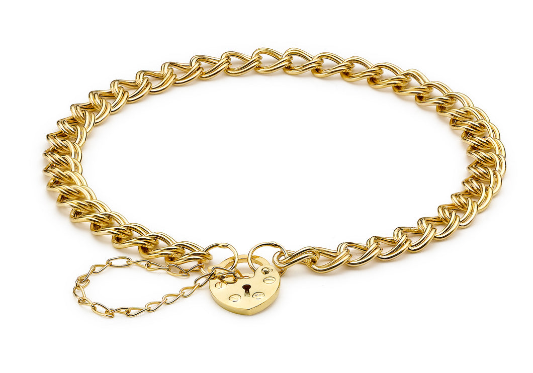 9ct Yellow Gold Double Hollow Panza and Heart Padlock Bracelet 18cm/7