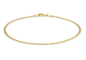 9ct Yellow Gold Flat Curb Bracelet 18cm/7""