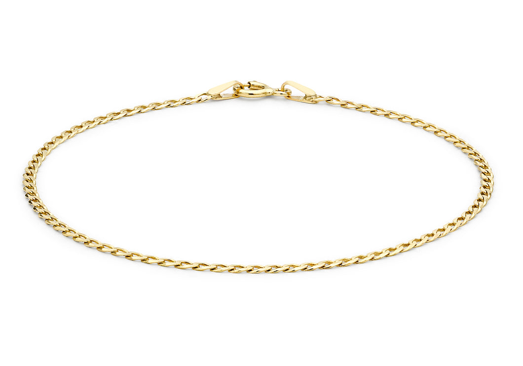 9ct Yellow Gold Flat Curb Bracelet 18cm/7